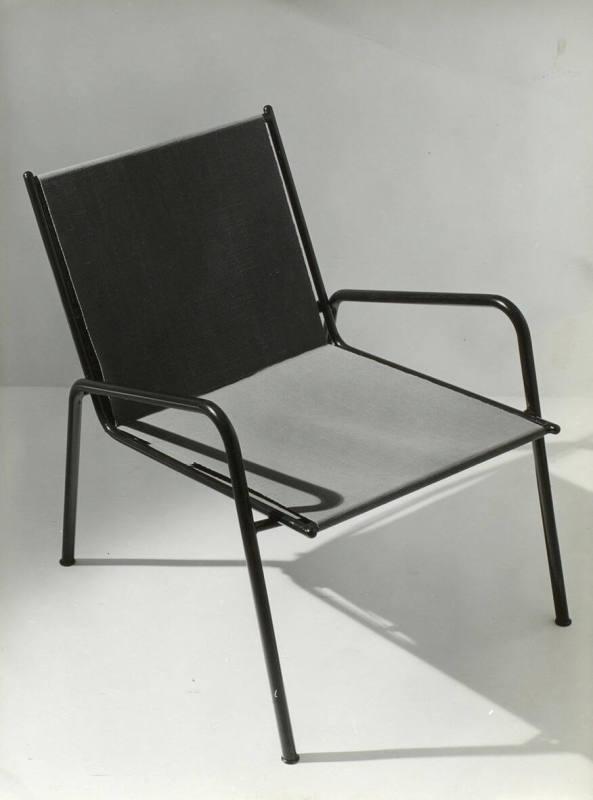 Stuhl In Stahl Mit Stoff Blau